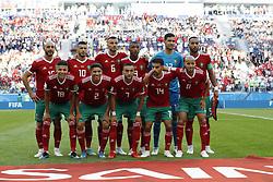 back row (l-r) Younes Belhanda of Morocco, Ghanem Saiss of Morocco, Ayoub El Kaabi of Morocco, goalkeeper Monir El Kajoui of Morocco, Mehdi Benatia of Morocco <br />front row (l-r) Amine Harit of Morocco, Hakim Ziyach of Morocco, Achraf Hakimi of Morocco, Mbark Boussoufa of Morocco, Karim El Ahmadi of Morocco