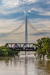 Margaret Hunt Hill Bridge and Trinity River at flood stage, Dallas, Texas, USA