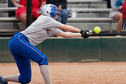 15 April 2012:  Liz Buck during an NCAA women's softball game between the Drake Bulldogs and the Illinois State Redbirds on Marian Kneer Field in Normal IL