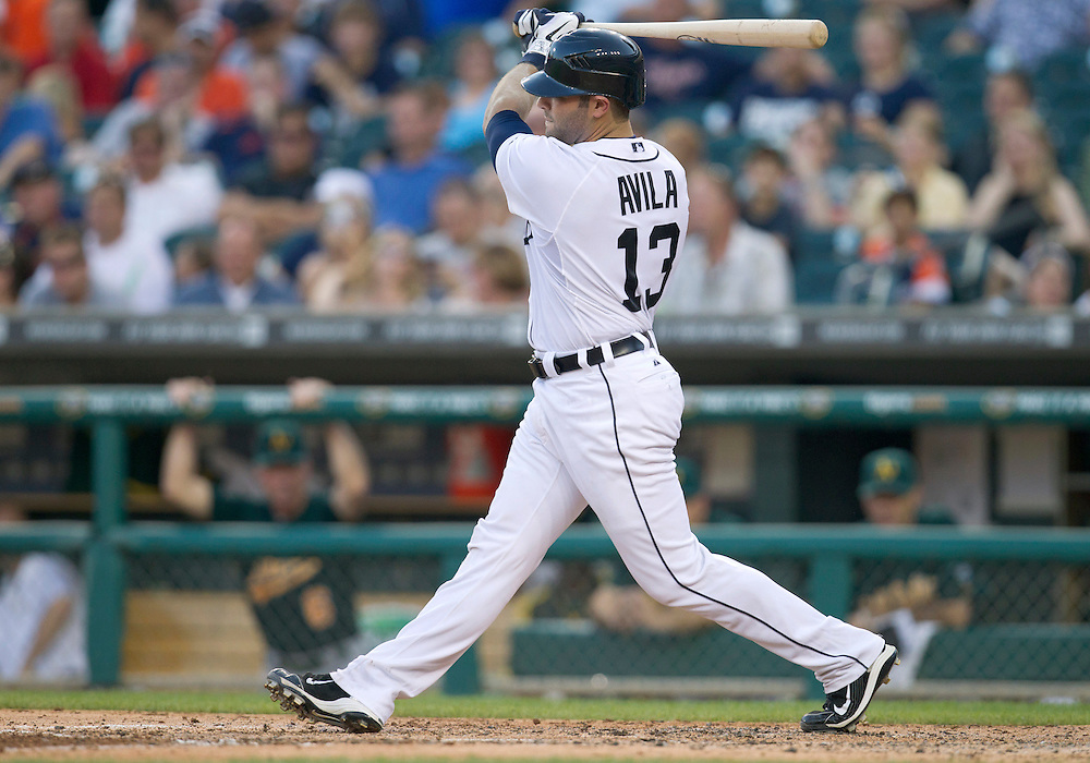 July 20, 2011:  Detroit Tigers catcher Alex Avila (#13) at bat during MLB game action between the Oakland Athletics and the Detroit Tigers at Comerica Park in Detroit, Michigan.  The Athletics defeated the Tigers 7-5.