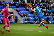 Peterborough Utd forward Matthew Godden (9) has the ball in the net for his hat trick but was ruled offside during the EFL Sky Bet League 1 match between Peterborough United and Wycombe Wanderers at London Road, Peterborough, England on 2 March 2019.