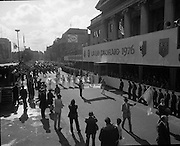St Patricks day Parade, Dublin .17/03/1976.03/17/1976.17th March 1976.Photograph of members of the Monrovia High School Band, California as they march past the GPO, O'Connell Street. Monrovia is spelt out in umbrellas.