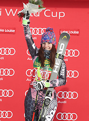 03.12.2017, Lake Louise, CAN, FIS Weltcup Ski Alpin, Lake Louise, Super G, Damen, Siegerehrung, im Bild Tina Weirather (LIE) // Tina Weirather of Liechtenstein during the winner ceremony of ladie's Super G of FIS Ski Alpine World Cup in Lake Louise, Canada on 2017/12/03. EXPA Pictures © 2017, PhotoCredit: EXPA/ SM<br /> <br /> *****ATTENTION - OUT of GER*****