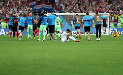 MOSCOW, July 11, 2018  Jesse Lingard (bottom) of England sits on the pitch as players of Croatia celebrate victory after the 2018 FIFA World Cup semi-final match between England and Croatia in Moscow, Russia, July 11, 2018. Croatia won 2-1 and advanced to the final. (Credit Image: © Xu Zijian/Xinhua via ZUMA Wire)