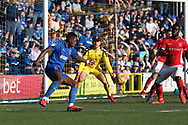 AFC Wimbledon attacker Michael Folivi (41) shaping up to shoot during the EFL Sky Bet League 1 match between AFC Wimbledon and Charlton Athletic at the Cherry Red Records Stadium, Kingston, England on 23 February 2019.