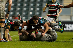 Argentina international Julián Montoya on debut for Leicester Tigers, is suspended in mid air - Mandatory by-line: Nick Browning/JMP - 29/01/2021 - RUGBY - Mattioli Woods Welford Road - Leicester, England - Leicester Tigers v Sale Sharks - Gallagher Premiership Rugby