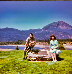 Mt. Hood Oregon, 1961 Ron Guengerich, Sharon Guengerich, Ron Guengerich<br /> <br />  Photos taken by George Look.  Image started as a color slide.