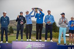 Winners Iceland hoist the trophy aloft after their victory, L to R Valdis Thora Jonsdottir, Olafia Kristinsdottir, Birgir Hafthorsson and Axel Boasson during day ten of the 2018 European Championships at Gleneagles PGA Centenary Course