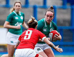 Nicole Fowley of Ireland  under pressure from Keira Bevan of Wales<br /> <br /> Photographer Simon King/Replay Images<br /> <br /> Six Nations Round 5 - Wales Women v Ireland Women- Sunday 17th March 2019 - Cardiff Arms Park - Cardiff<br /> <br /> World Copyright © Replay Images . All rights reserved. info@replayimages.co.uk - http://replayimages.co.uk