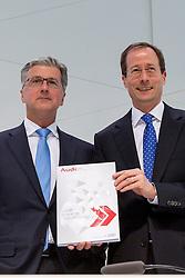 10.03.2015, Audi Forum, Ingolstadt, GER, AUDI AG Jahrespressekonferenz, im Bild Rupert Stadler, Vorstandsvorsitzender der AUDI AG und Axel Strotbek, Mitglied des Vorstands und verantwortlich fuer den Bereich Finanz und Organisation praesentieren den Geschaeftsbericht// during AUDI AG Annual Press Conference at the Audi Forum in Ingolstadt, Germany on 2015/03/10. EXPA Pictures © 2015, PhotoCredit: EXPA/ Eibner-Pressefoto/ Strisch<br /> <br /> *****ATTENTION - OUT of GER*****