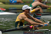 Lucerne, SWITZERLAND, Start  AUS LM 4- bow Rod CHISHOLM, competing at the 2007 FISA World Cup, Lucerne, on the Rotsee Lake, 13/07/2007  [Mandatory Credit Peter Spurrier/ Intersport Images] , Rowing Course, Lake Rottsee, Lucerne, SWITZERLAND.