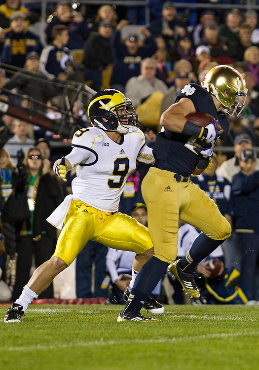 September 22, 2012:  Notre Dame safety Nicky Baratti (29) intercepts a pass during NCAA Football game action between the Notre Dame Fighting Irish and the Michigan Wolverines at Notre Dame Stadium in South Bend, Indiana.  Notre Dame defeated Michigan 13-6.
