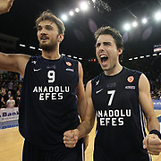 Anadolu Efes's Semih Erden (L) and Sasha Vujacic (R) celebrate victory during their Turkish Airlines Euroleague Basketball Top 16 Game 7 match Anadolu Efes between Real Madrid at the Abdi ipekci Arena in Istanbul, Turkey, Thursday, February 14, 2013. Photo by TURKPIX