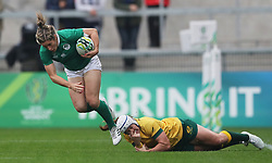 Ireland's Alison Miller tackled by Australia's Shami Williams during the 2017 Women's World Cup, 5th Place Semi Final match at the Kingspan Stadium, Belfast.