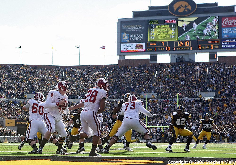 October 31, 2009: Indiana quarterback Ben Chappell (4) drops back to pass from his own end zone during the second half of the Iowa Hawkeyes' 42-24 win over the Indiana Hoosiers at Kinnick Stadium in Iowa City, Iowa on October 31, 2009.