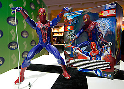 © Licensed to London News Pictures. 31/10/2012. London, UK. A Hasbro 'Web Shooting Spider Man' (RRP GB£34.99) is seen at a Toy Retailers Association (TRA) fair in London today (31/10/12) as the organisation released its 13 Dream Toys for Christmas 2012. Photo credit: Matt Cetti-Roberts/LNP