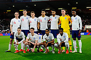 The England players pose for a team photo before the U21 International match between England and Germany at the Vitality Stadium, Bournemouth, England on 26 March 2019.