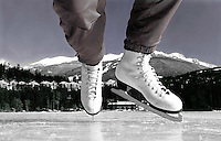 Self portrait originally shot in black and white of my feet in skates, on Alta Lake with Blackcomb Mountain behind. Early in my career with the Whistler Question Newspaper I was assigned to photograph skating on Alta Lake. It was a gorgeous and clear day, but there was no one out skating. This is well before the tourists really discovered the resort, and so after skating around for an hour or so I decided I had better be my own model. Using a manual Rollei camera, I set the focus and choose a small aperture, took a deep breath and bent over, balancing on the tips of my skates. It was only in the darkroom hours later that I knew I had a cover shot. Thirty years later it's still one of my favorite images.