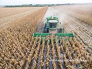 63801-08505 Corn Harvest, John Deere combine harvesting corn - aerial Marion Co. IL