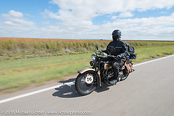 "Robert Gustavsson or ""Big Swede"" as he is fondly known, riding his 1931 Harley-Davidson VL during Stage 8 of the Motorcycle Cannonball Cross-Country Endurance Run, which on this day ran from Junction City, KS to Burlington, CO., USA. Saturday, September 13, 2014.  Photography ©2014 Michael Lichter."