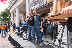 Moonshiner Josh Owens before the Legends Ride at the Franklyn Hotel on Main Street in Deadwood during the annual Sturgis Black Hills Motorcycle Rally. Deadwood, SD, USA. Monday August 7, 2017.  Photography ©2017 Michael Lichter.