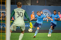 September 26, 2018 - Bronx, New York, US - New York City FC midfielder ALEXANDER RING (8) takes a shot on goal against Chicago Fire goalkeeper STEFAN CLEVELAND (30) during a regular season match at Yankee Stadium in Bronx, New York.  New York City FC defeats Chicago Fire 2 to 0 (Credit Image: © Mark Smith/ZUMA Wire)