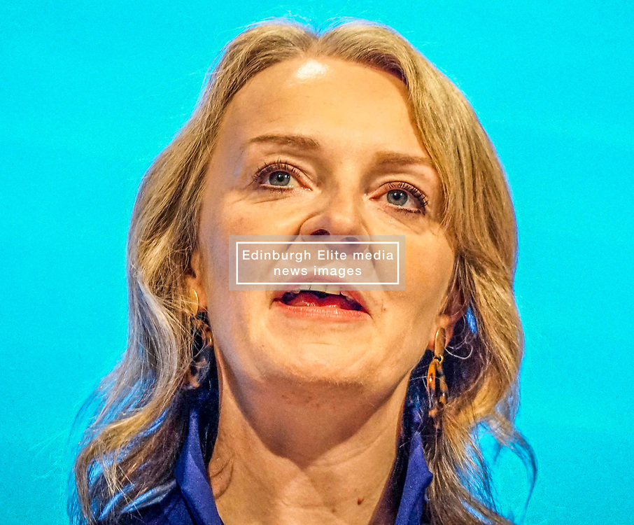 Pictured :  Liz Truss, Secretary of State for International Trade   speaks  to delegates   on the first day at the Conservative Party Conference<br /> <br /> <br /> Giannis Alexopoulos | EEm 29/09/2019