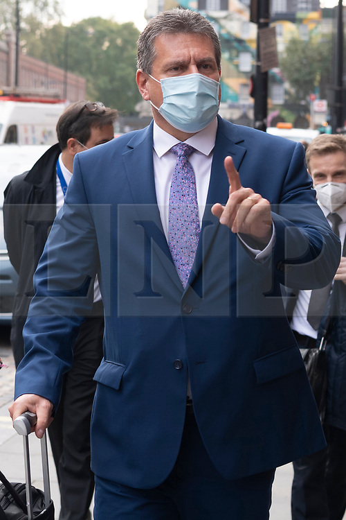 © Licensed to London News Pictures. 19/10/2020. London, UK.  EU Commission Vice-President MAROS SEFCOVIC leaves London after talks with the EU Commission Vice-President. The UK Government have exporessd Post-Brexit agreements discussions have stalled.   Photo credit: Ray Tang/LNP