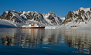 """The expedition vessle MS """"Polar Star"""" on anchor at Magdalenefjord, western Spitsbergen, Svalbard."""
