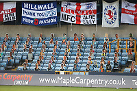 Millwall flags and fan photos displayed in the empty stadium<br /> <br /> Photographer Rob Newell/CameraSport<br /> <br /> The EFL Sky Bet Championship - Millwall v Blackburn Rovers - Tuesday July 14th 2020 - The Den - London<br /> <br /> World Copyright © 2020 CameraSport. All rights reserved. 43 Linden Ave. Countesthorpe. Leicester. England. LE8 5PG - Tel: +44 (0) 116 277 4147 - admin@camerasport.com - www.camerasport.com