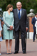 Queen Letizia of Spain, King Juan Carlos of Spain arrived Asuncion de Nuestra Senora Church for the First Communion of Princess Sofia on May 17, 2017 in Aravaca near of Madrid.