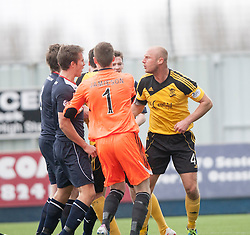 Livingston Simon Mensing gets involved in a melee after Falkirk were awarded a penalty.<br /> Falkirk 1 v 1 Livingston, Scottish Championship game today at The Falkirk Stadium.<br /> © Michael Schofield.