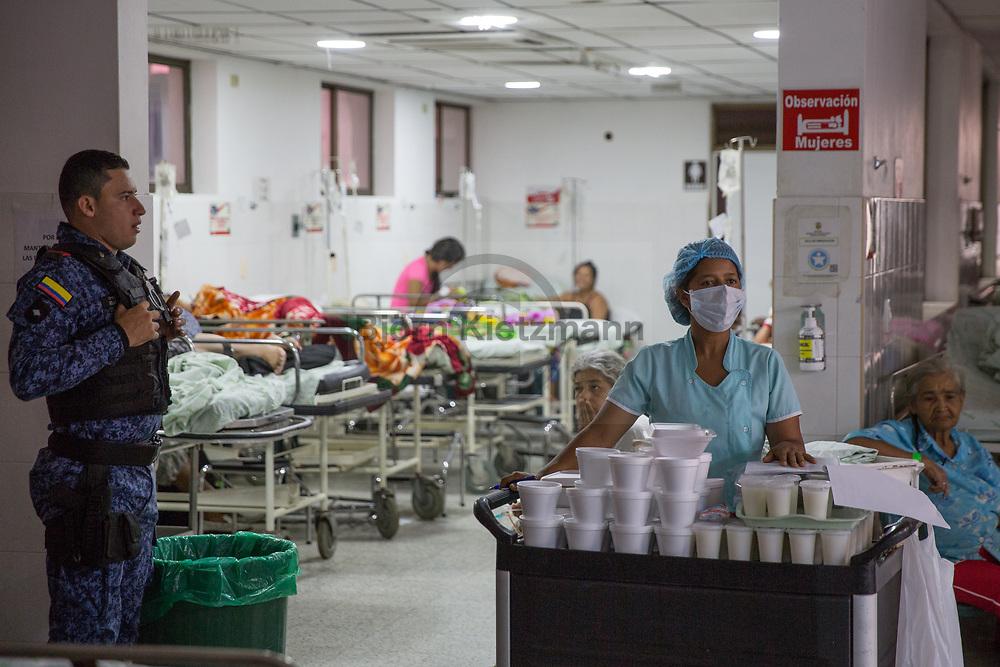 Florencia, Caquetá, Colombia - 21.09.2016        <br /> <br /> Hospital in Florencia. In 2005, an apparently paramilitary bomb exploded in the assembly hall of the clinic, causing the death of a trade unionist.<br /> <br /> Krankenhaus im kolumbianischen Florencia. Im Jahr 2005 explodierte im Versammlungssaal der Klinik eine offenbar von Paramilitaers gelegte Bombe, wodurch ein Gewerkschafter starb.  <br /> <br /> Photo: Bjoern Kietzmann