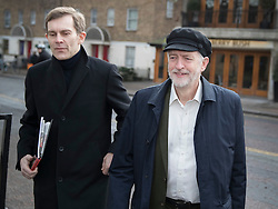© Licensed to London News Pictures. 29/01/2017. London, UK. . Labour party leader Jeremy Corbyn and Director of Strategy and Communications Seumas  Milne arrive at ITV Studios to appear on ITV's Peston's PoliticsPhoto credit: Peter Macdiarmid/LNP