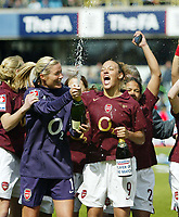 Photo: Chris Ratcliffe.<br /> Leeds United v Arsenal. Womens' FA Cup Final. 01/05/2006.<br /> Arsenal Ladies celebrate the easy win.