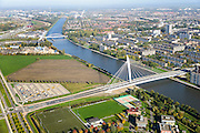 Nederland, Utrecht, Utrecht, 24-10-2013; bedrijventerrein Papendorp met Prins Clausbrug (Ben van Berkel) naar Kanaleneiland.<br /> Business park  Papendorp with Prince Claus Bridge (Ben van Berkel) to Kanaleneiland.<br /> luchtfoto (toeslag op standaard tarieven);<br /> aerial photo (additional fee required);<br /> copyright foto/photo Siebe Swart.
