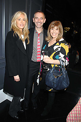 Left to right, CLARISSA NADLER, PAUL EDMONDS and TV presenter MAGGIE PHILBIN at the opening party of hairdresser Paul Edmond's new salon at 217 Brompton Road, London SW3 on 18th March 2008.<br />