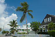 Traditional clapboard houses and picket fence in Dunmore Town, Harbour Island, The Bahamas