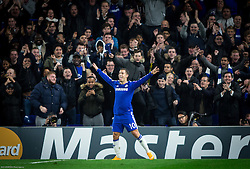 Eden Hazard of Chelsea celebrates after he scored sixth goal for Chelsea during football match between Chelsea FC and NK Maribor, SLO in Group G of Group Stage of UEFA Champions League 2014/15, on October 21, 2014 in Stamford Bridge Stadium, London, Great Britain. Photo by Vid Ponikvar / Sportida.com