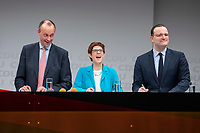 30 NOV 2018, BERLIN/GERMANY:<br /> Friedrich Merz (L), CDU, Rechtanwalt und ehem. stellv. CDU/CSU Fraktionsvorsitzender, Annegret Kramp-Karrenbauer (M), CDU Generalsekretaerin, und Jens Spahn (R), CDU, Bundesgesundheitsminister, waehrend der Fragerunden der Teilnehmer,  Regionalkonferenz der CDU zur Vorstellung der Kandidaten fuer das Amt des Bundesvorsitzenden der CDU, Estrell Convention Center<br /> IMAGE: 20181130-01-057<br /> KEYWORDS: lachen, lacht, freundlich