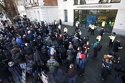 © Licensed to London News Pictures. 06/01/2021. London, UK. Crowds of supporters and reporters gather outside Westminster Magistrates court in central London as a bail hearing for Wikileaks founder Julian Assange starts. A bail hearing is being heard after a judge at a recent heaing blocked his extradition to the USA. Photo credit: Peter Macdiarmid/LNP
