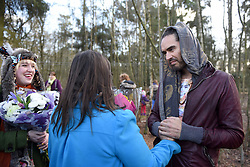 © Licensed to London News Pictures. 30/01/2016. Slough, UK. Russell Brand at the formal opening of a wooden treehouse in memory of murder victim Alice Adams in Black Park, Wexham on Saturday 30th January. The 20-year-old was stabbed to death in August 2011 with her friend and co-worker Tibor Vass, at a staff flat behind the Radisson Edwardian Hotel near Heathrow Airport. The murderer was Attila Ban, aged 32,  who also worked at the hotel as a receptionist. After the death of Alice, her family created a charity called, Alice Adams Foundation, to raise money to build the treehouse. Photo credit should read: Emma Sheppard/LNP