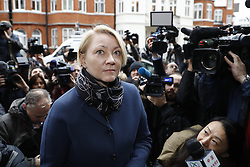 © Licensed to London News Pictures. 14/11/2016. London, UK.  Swedish Chief Prosecutor Ingrid Isgren arrives at the Ecuadorian Embassy in London where they are expected to interview WikiLeaks editor-in-chief, Julian Assange. Assange, who has been living at the embassy for over four years, is wanted for questioning over accusations of rape in Stockholm in 2010. Photo credit: Peter Macdiarmid/LNP