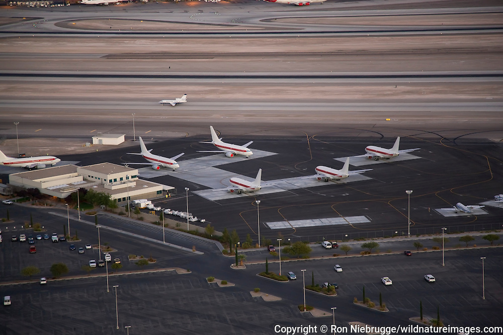 Aerial view of the Janet Airlines Terminal at McCarran International Airport, Las Vegas, Nevada.  Janet Airlines shuttles workers in unmarked planes to top secret places like the Nevada Test Site / Area 51.