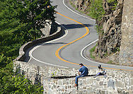 Town of Deerpark, New York - Views of Route 97 and the Delaware River from the Hawk's Nest on July 24, 2014. The road is part of the Upper Delaware Scenic Byway. This curvy section of road located hundreds of feet above the Delaware River has been frequently used in television commercials and advertisements.