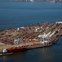 aerial view of the Container Ships at the port of oakland