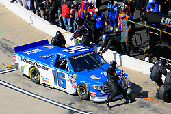 March 23, 2019 - Martinsville, VA, U.S. - MARTINSVILLE, VA - MARCH 23:  #16: Austin Hill, Hattori Racing Enterprises, Toyota Tundra United Rentals pits during the 21st running of the NASCAR Gander Outdoors Truck Series TruNorth Global 250 race on March 23, 2019 at the Martinsville Speedway in Martinsville, VA.  (Photo by David John Griffin/Icon Sportswire) (Credit Image: © David J. Griffin/Icon SMI via ZUMA Press)