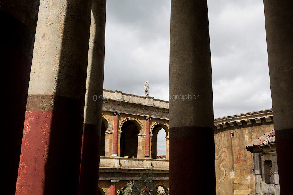 """ROME, ITALY - 30 MARCH 2015:<br /> in Rome, Italy, on March 30th 2015.<br /> <br /> Italy instated a special 25% tax credit for film productions in 2010. The industry then lobbied to remove the credit's cap, and last July, Italy lifted its tax credit limit from €5 million per movie to €10 million per company per year. <br />  <br /> Cinecittà, a large film studio in Rome, is considered the hub of Italian cinema. The studios were founded in 1937 by Benito Mussolini as part of a scheme to revive the Italian film industry. In the 1950s, the number of international productions being made here led to Rome being dubbed as the """"Hollywood on the Tiber"""". In the 1950s, Cinecittà was the filming location for several large American film productions like Ben-Hur, and then became the studio most closely associated with Federico Fellini.<br /> After a period of near-bankruptcy, the Italian Government privatized Cinecittà in 1997, selling an 80% stake.<br /> <br /> Currently Ben-Hur and Zoolander 2 are booked into Cinecittà Studios."""