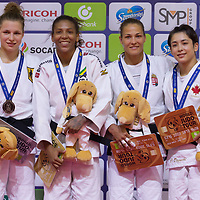 Gold medalist Rafaela Silva (2nd L) of Brazil, silver medalist Theresa Stoll (L) of Germany with Hedvig Karakas (2nd R) of Hungary and Christa Deguchi (R) of Canada celebrate their victory during an awards ceremony after the Women -57 kg category at the Judo Grand Prix Budapest 2018 international judo tournament held in Budapest, Hungary on Aug. 10, 2018. ATTILA VOLGYI