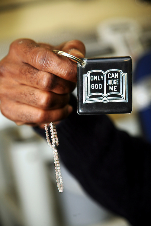 'Only God can judge me' is written on a prisoner's key ring in HMP Coldingley, Surrey..HMP Coldingley, Surrey was built in 1969 and is a Category C training prison. Coldingley is focused on the resettlement of prisoners and all prisoners must work a full working week within the prison. Its capacity is 390 prisoners.